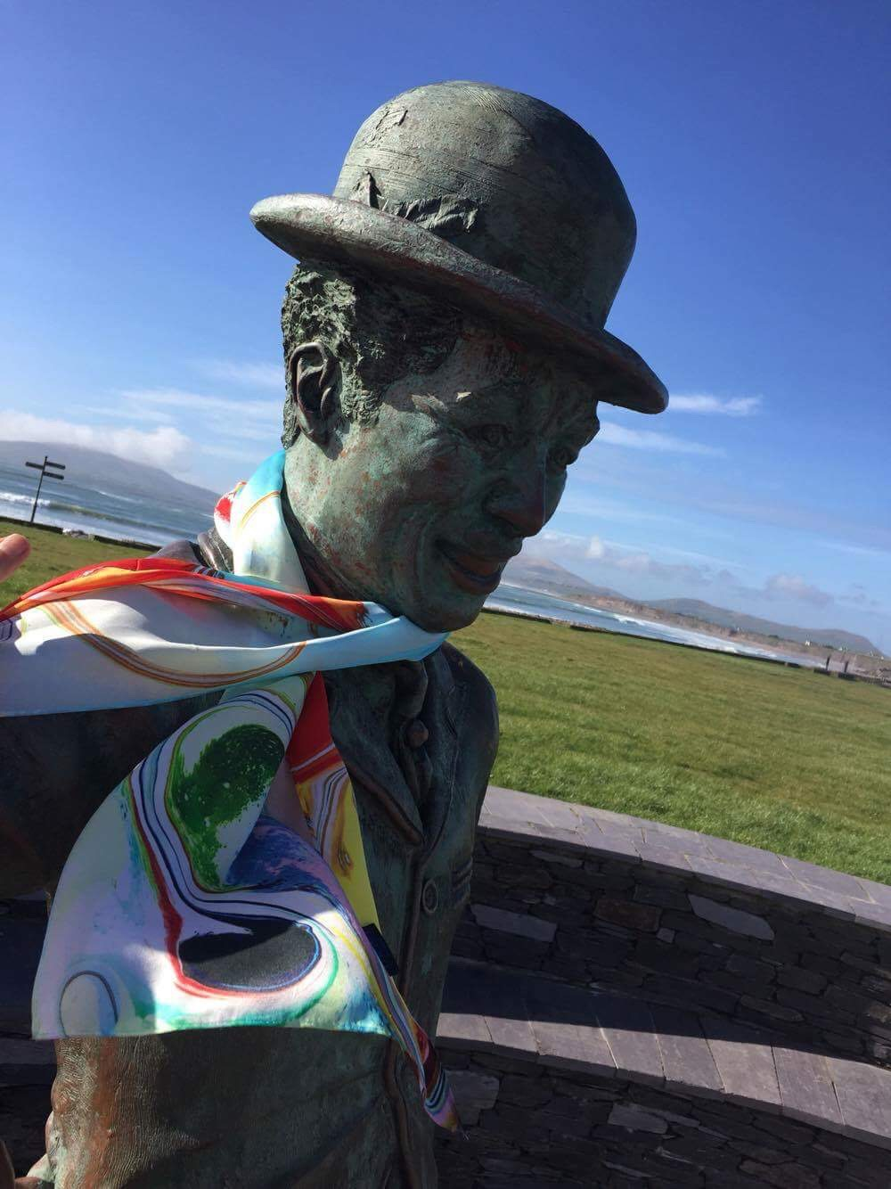 Silk scarf on Charlie Chaplin statue in Waterville Co Kerry