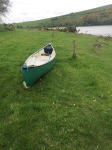 New canoe ready to go on the shore of Lough deravaragh