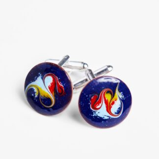 Hero cuff links electric blue and red