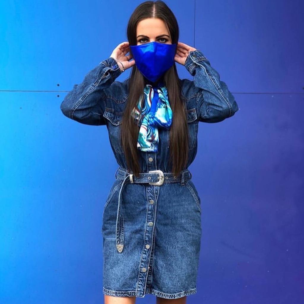 Cobalt blue silk face mask
