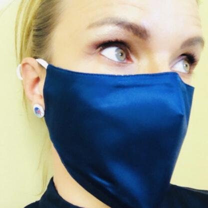 Navy silk face mask