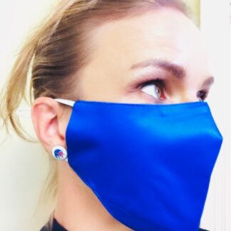 Cobalt blue 100% silk face mask
