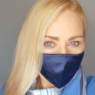 Urusla Kelly wearing the small adult navy silk mask