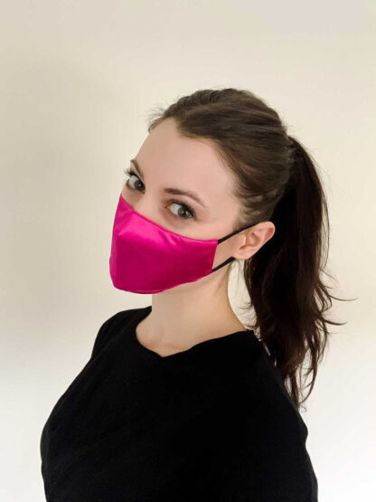 Paloma wearing the small Pink Face Mask