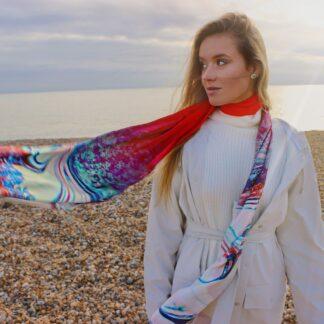 Melisandre red silk neck scarf