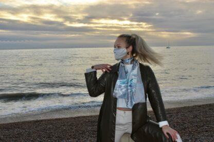 Silvery grey silk face mask and the Khaleesi silk scarf