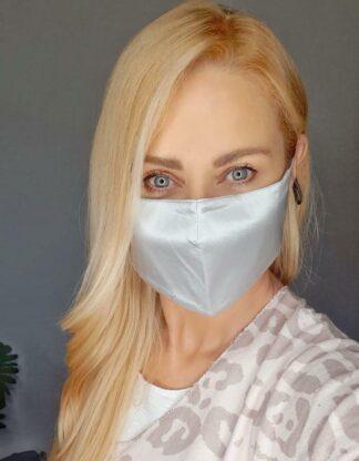 Ursla wearing the Silvery Grey Silk Face Mask