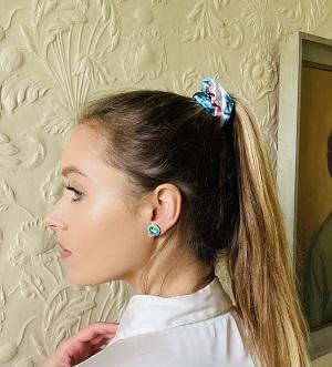 Meab Turquoise Blue Silk Scrunchie